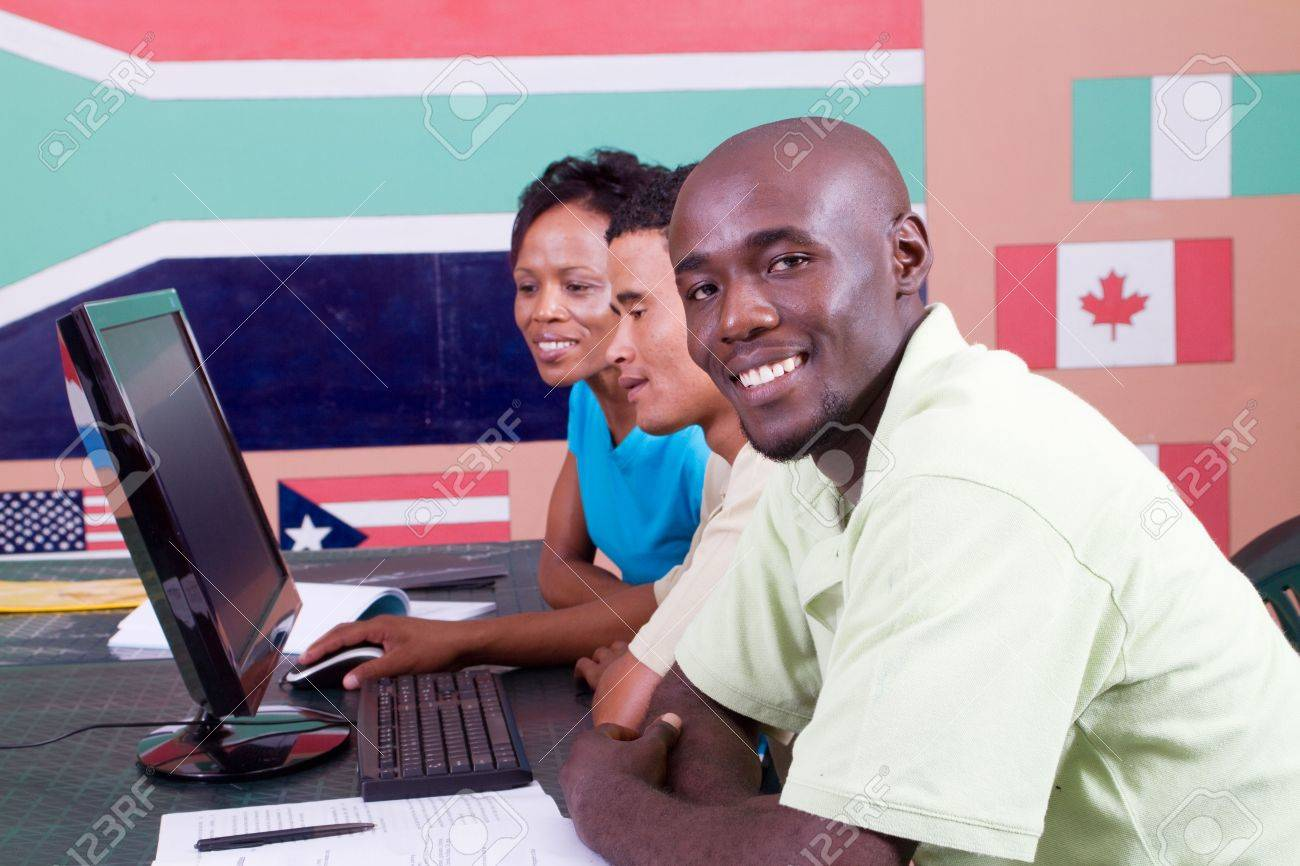 african american computer study students Stock Photo - 6639038