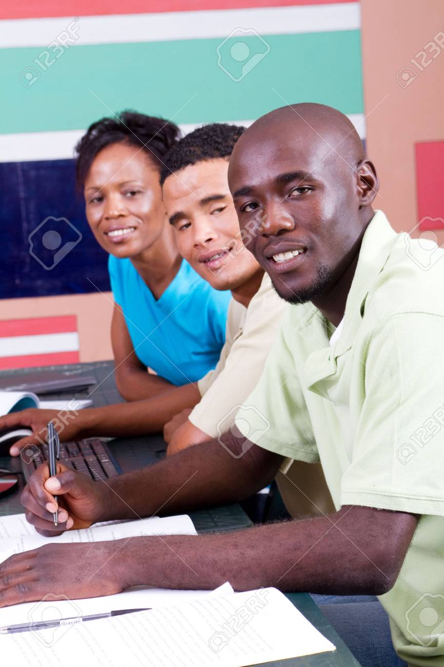 happy african american computer classmates Stock Photo - 6639029