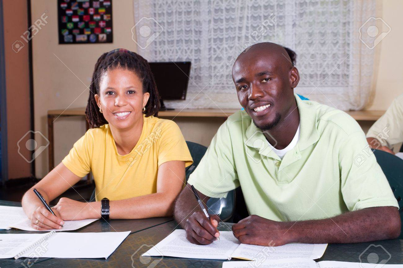 two adult educations students in classroom Stock Photo - 6687593