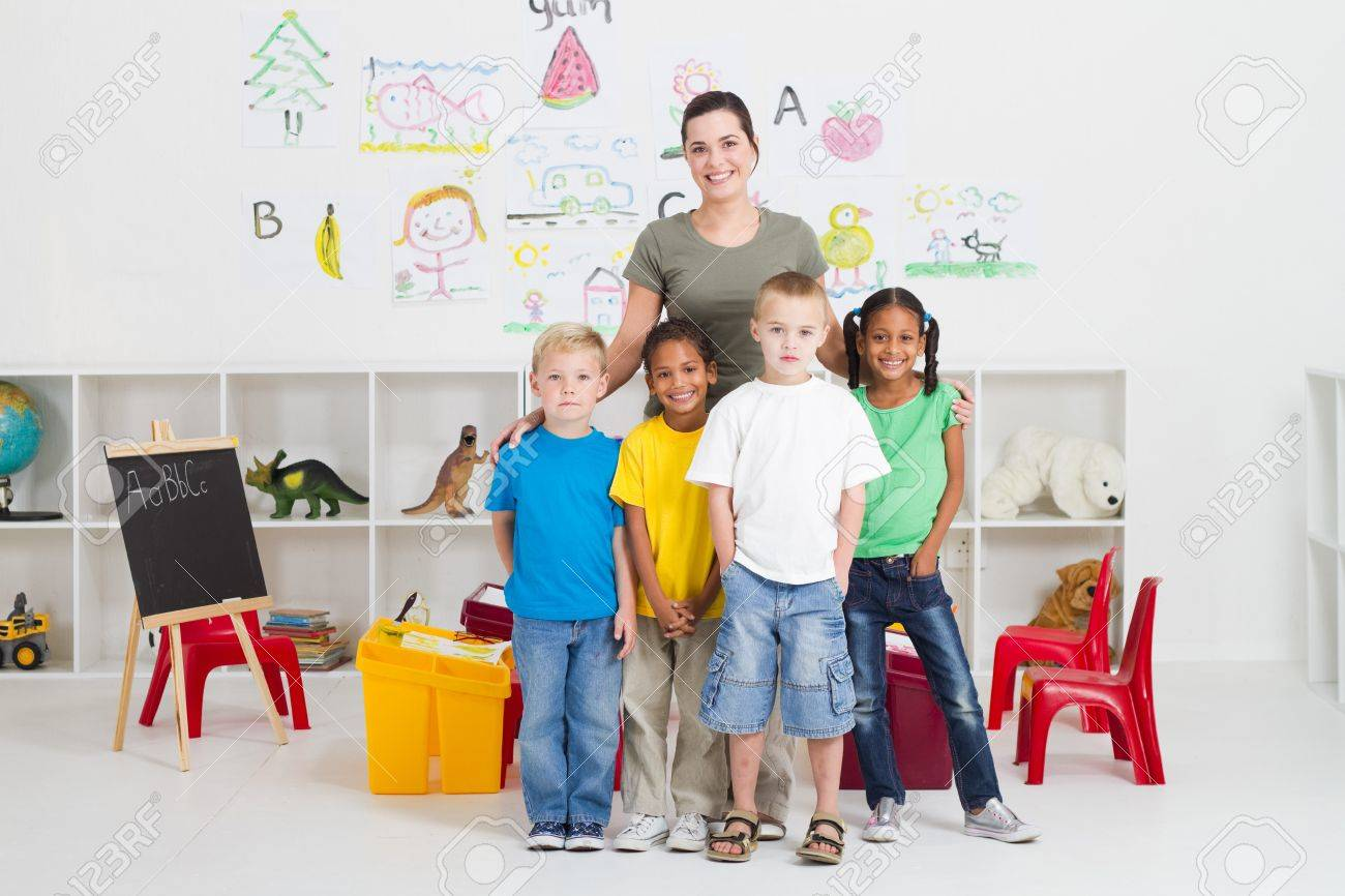 young teacher and kindergarten students Stock Photo - 7795754
