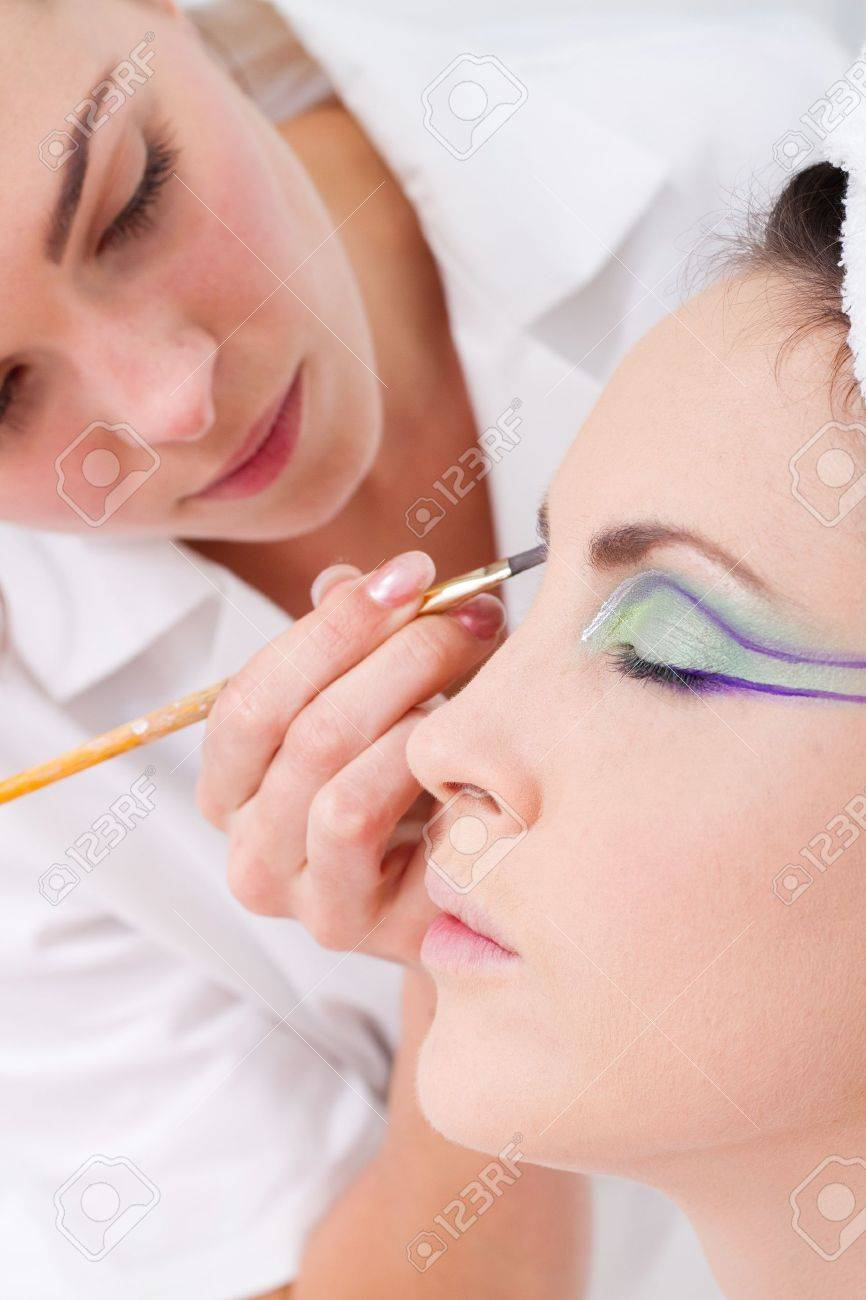 model having eye make up done Stock Photo - 7871451