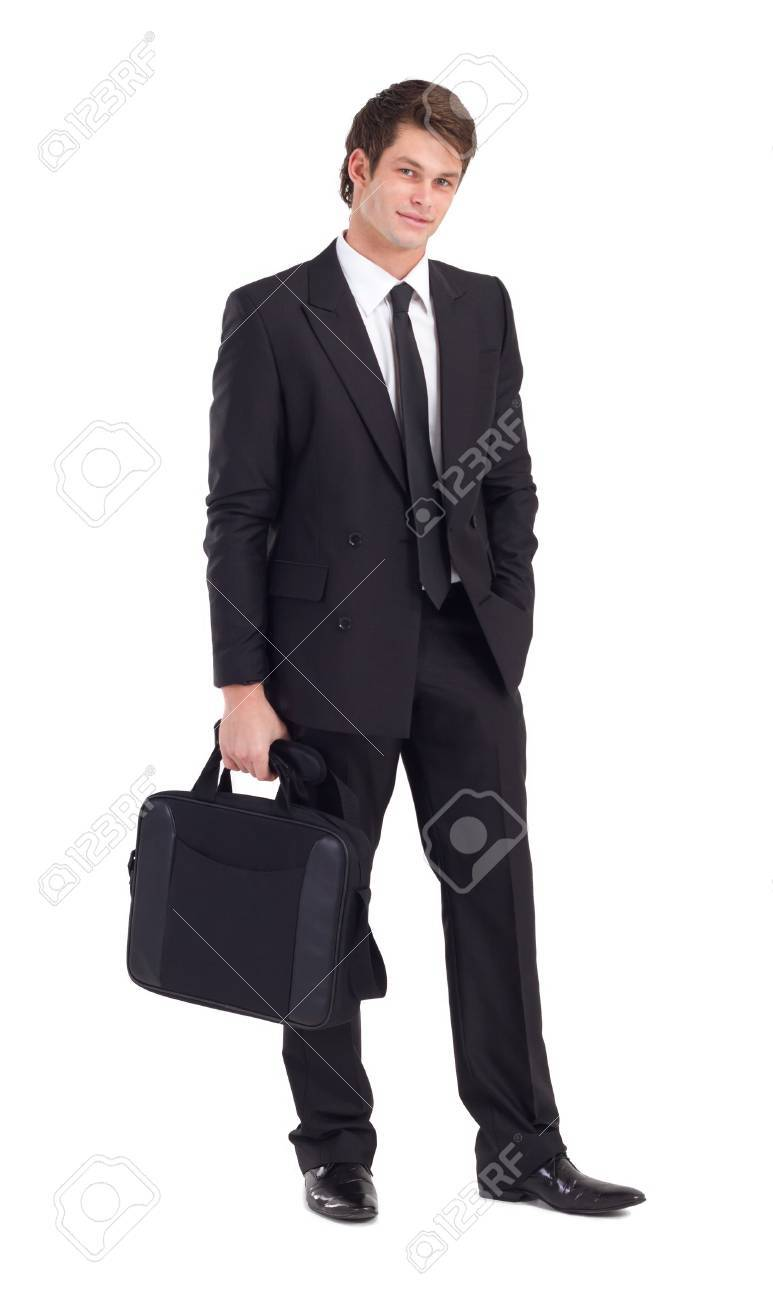 portrait of handsome young businessman on white Stock Photo - 7871514