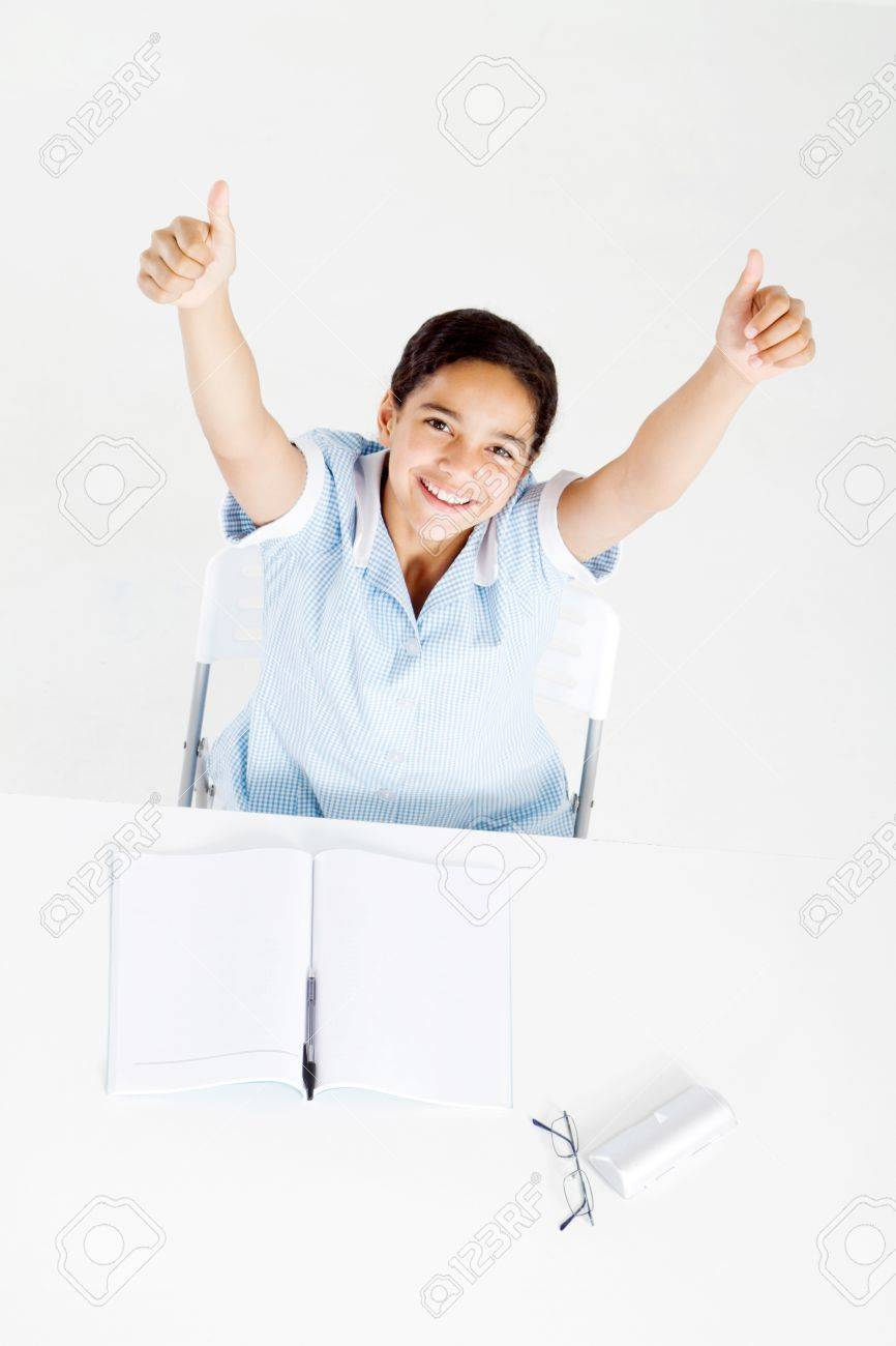 happy middle school student thumbs up Stock Photo - 8196930