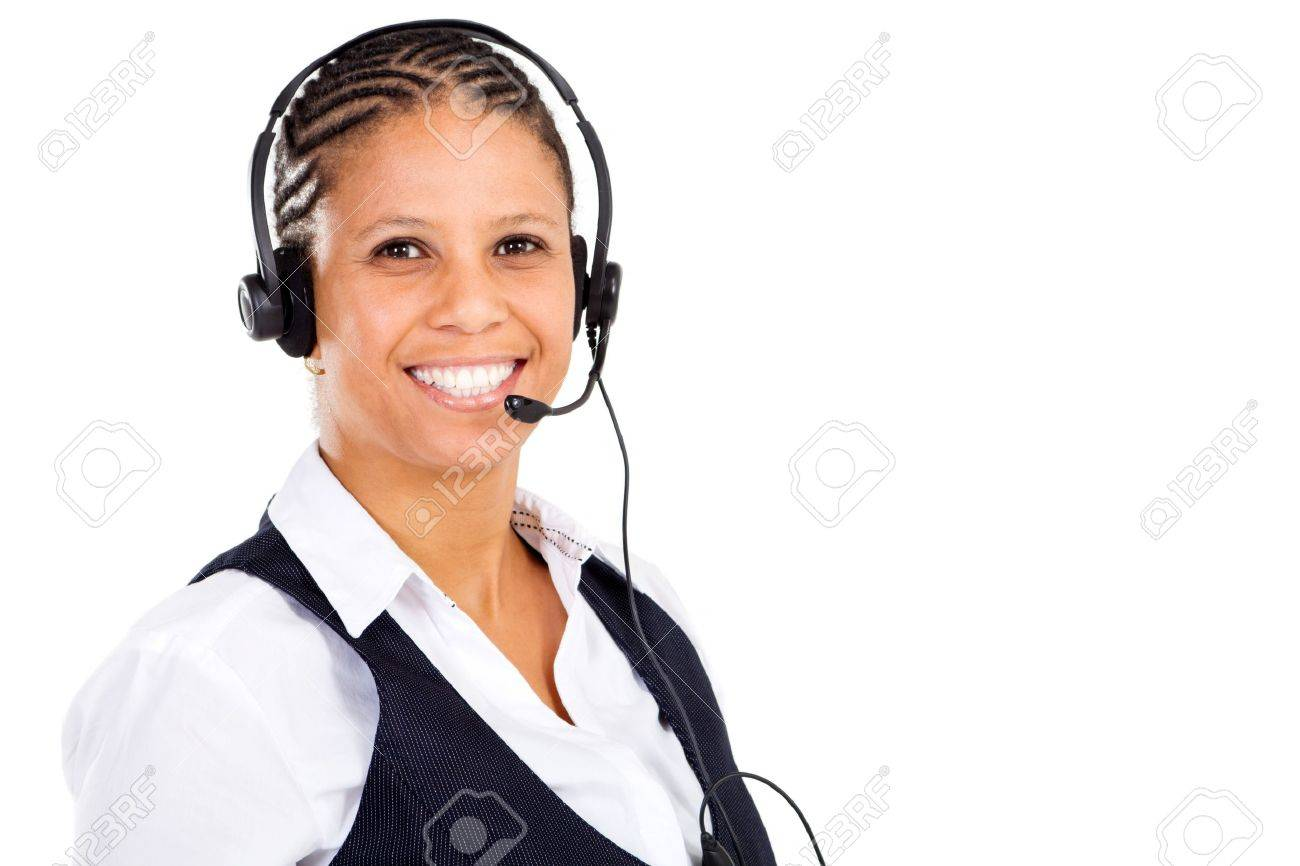 friendly african telephone operator wearing headset Stock Photo - 8306637