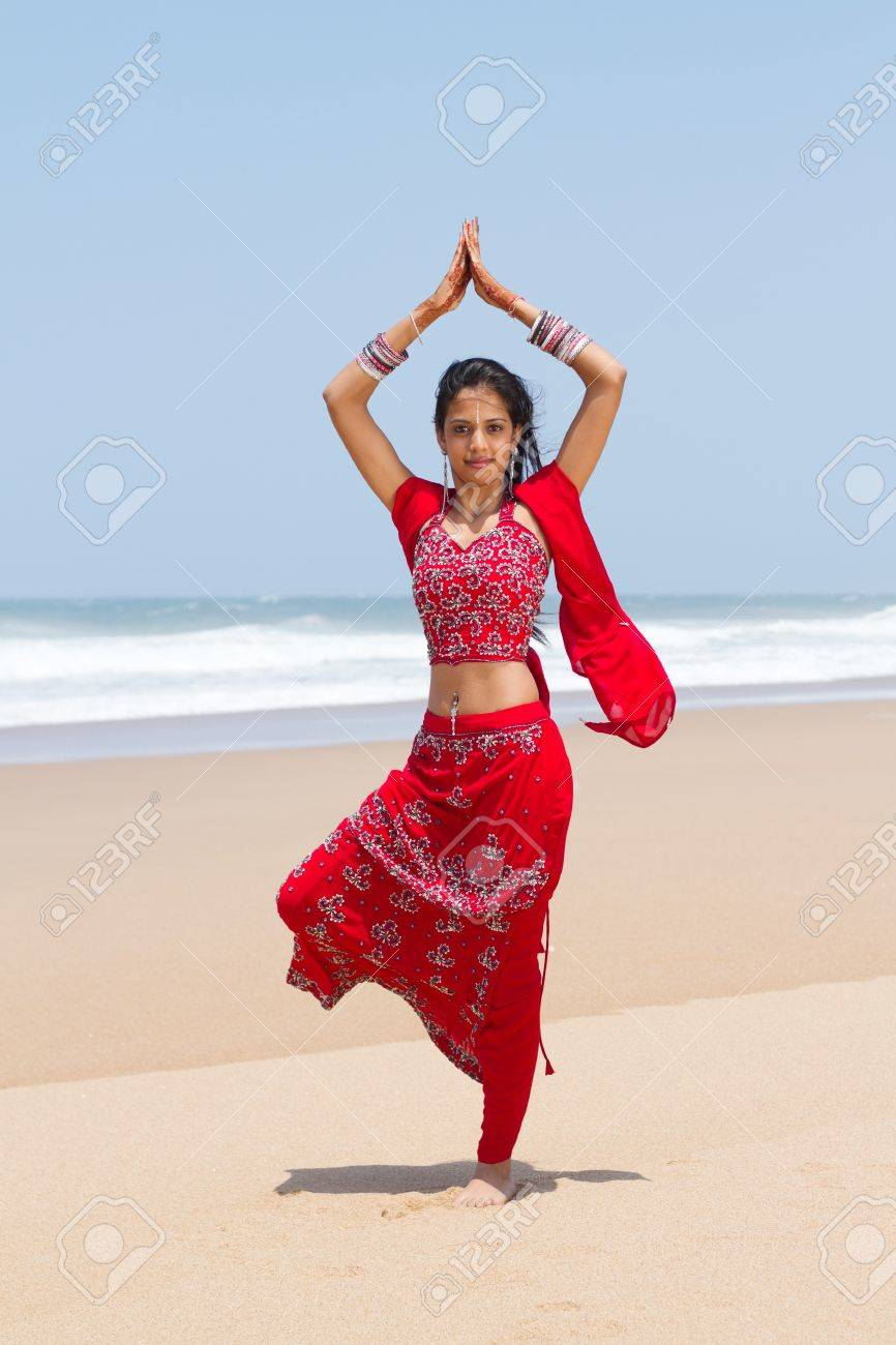 Traditional Indian Woman Doing Yoga On Beach Stock Photo Picture And Royalty Free Image Image 9119207