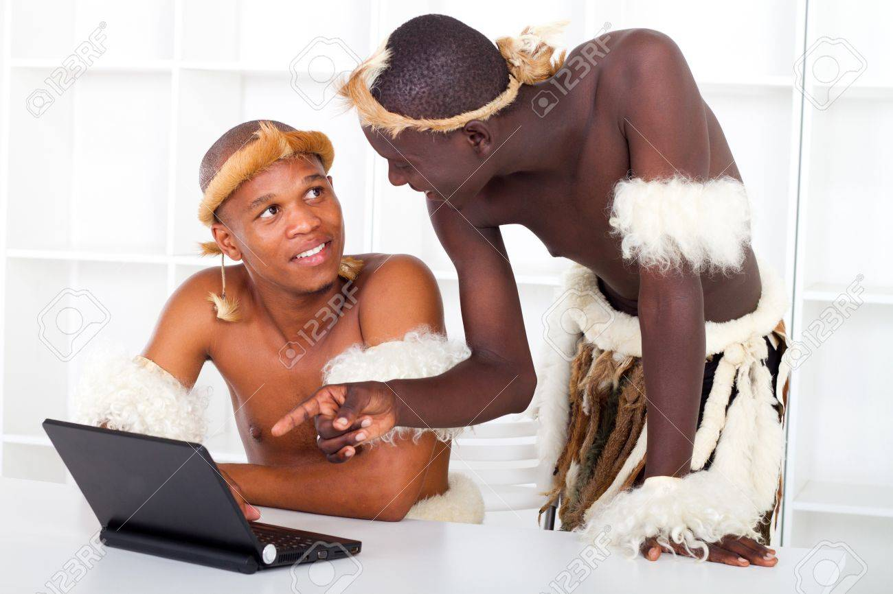 african tribesman using laptop Stock Photo - 9091734