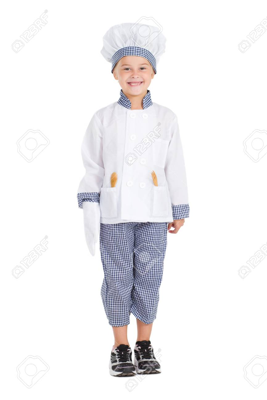 happy little kid chef isolated on white Stock Photo - 9168942