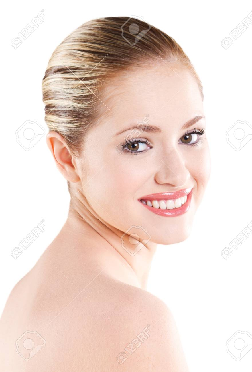 Beautiful young woman with clean skin and make up Stock Photo - 9771931
