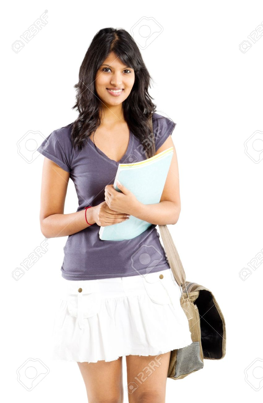 cute indian college student studio portrait stock photo, picture and