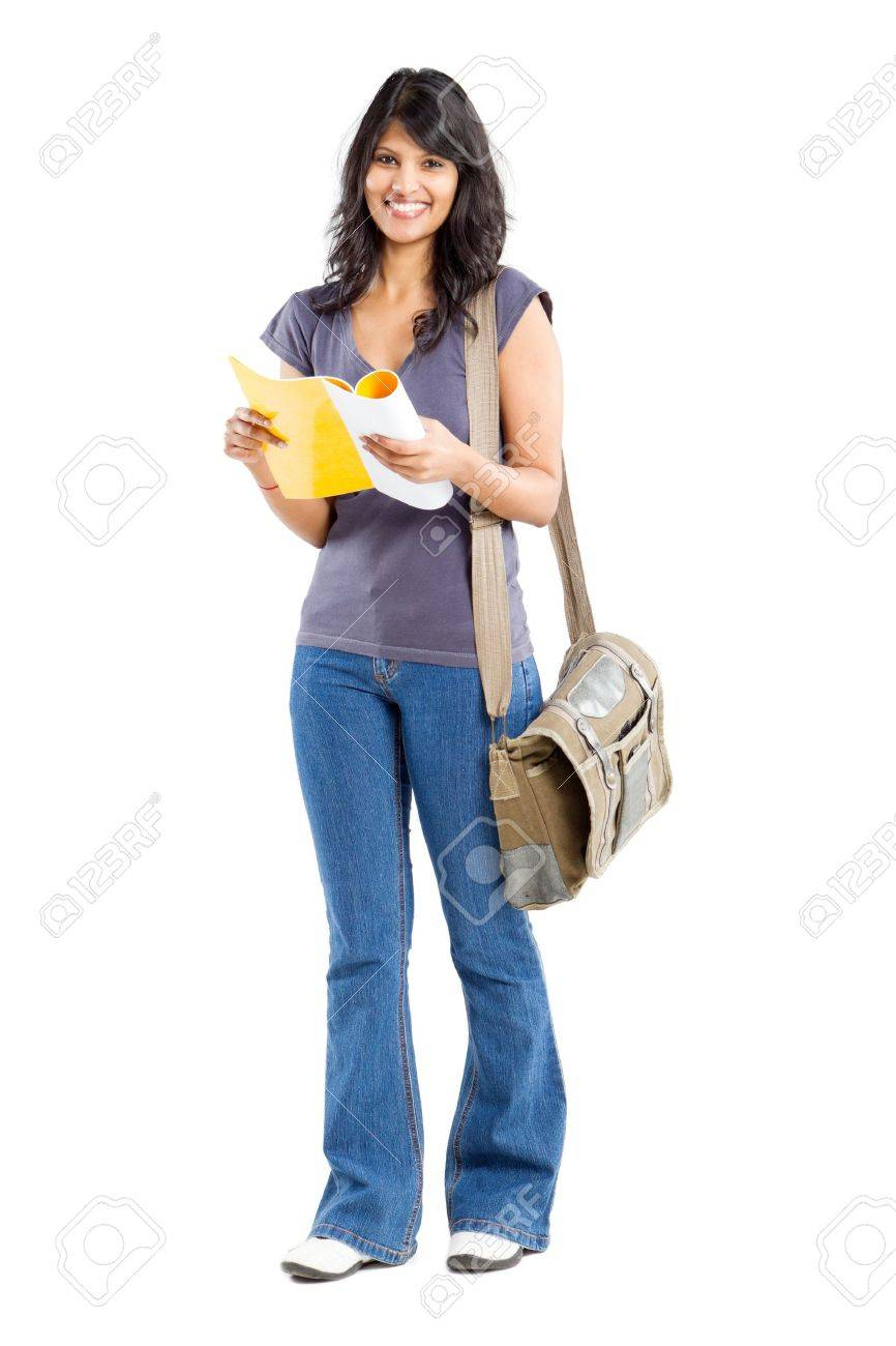 full length portrait of young female college student Stock Photo - 9843985