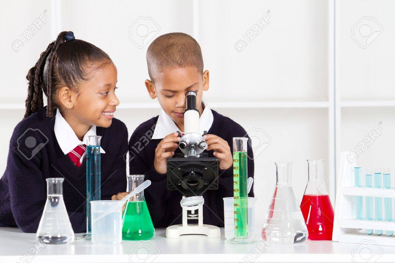 elementary school kids in science class using a microscope Stock Photo - 10746926