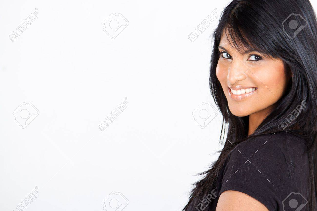 young attractive latin american woman on white with copy space Stock Photo - 10746248