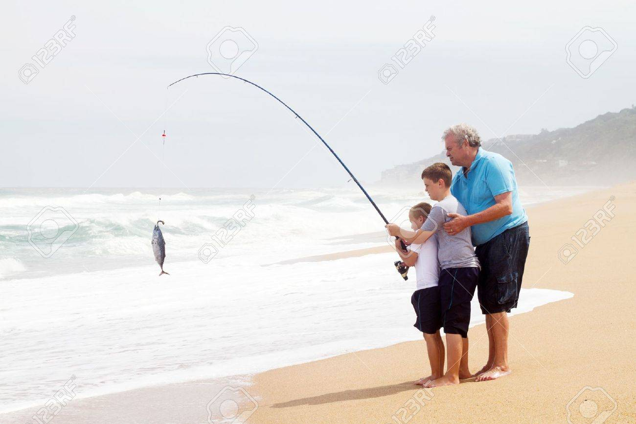 grandpa and two grandsons together pulling a fish out of water, Fishing Rod