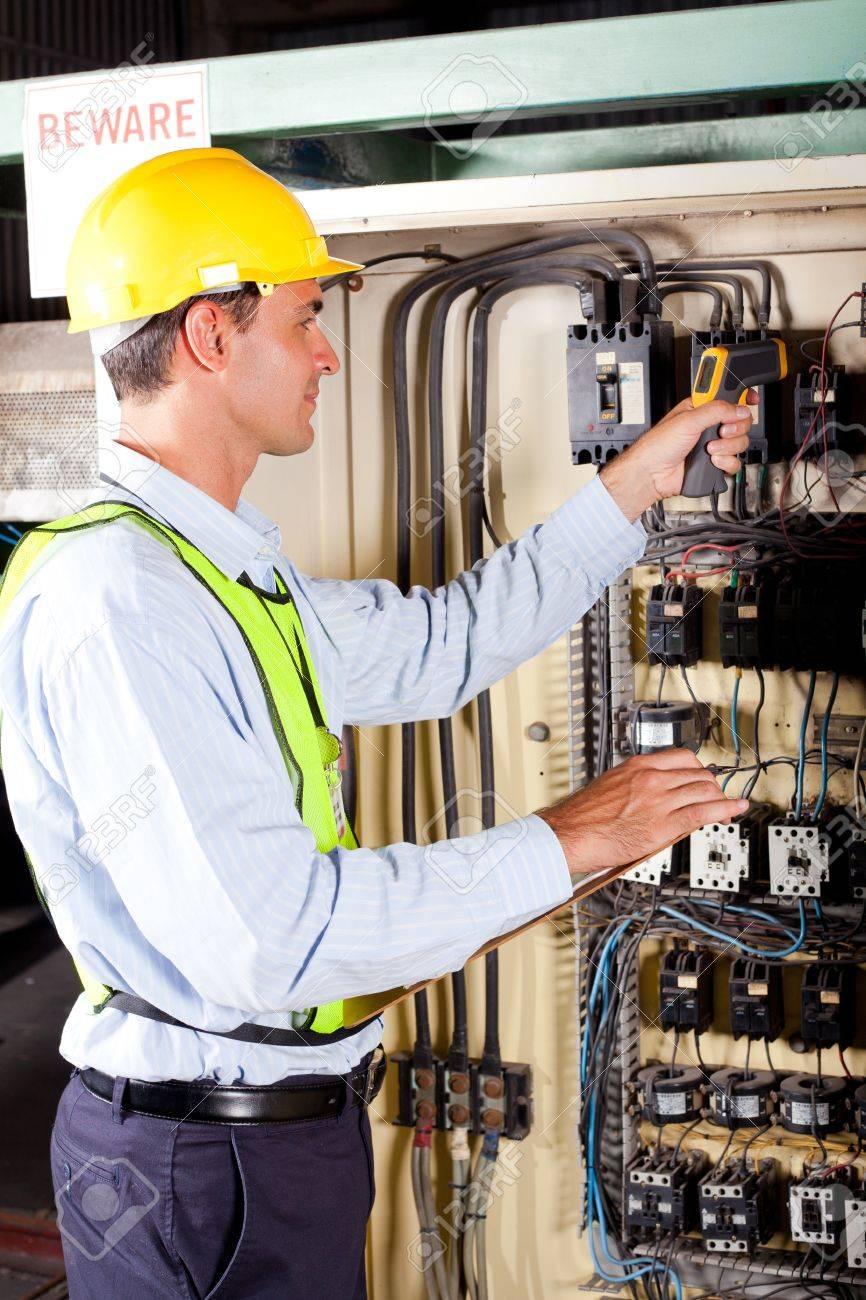 Industrial Technician Checking Machine Control Box Temperature ...
