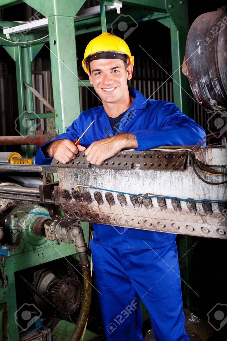 Happy Industrial Mechanic In Heavy Industry Plant Stock Photo ...