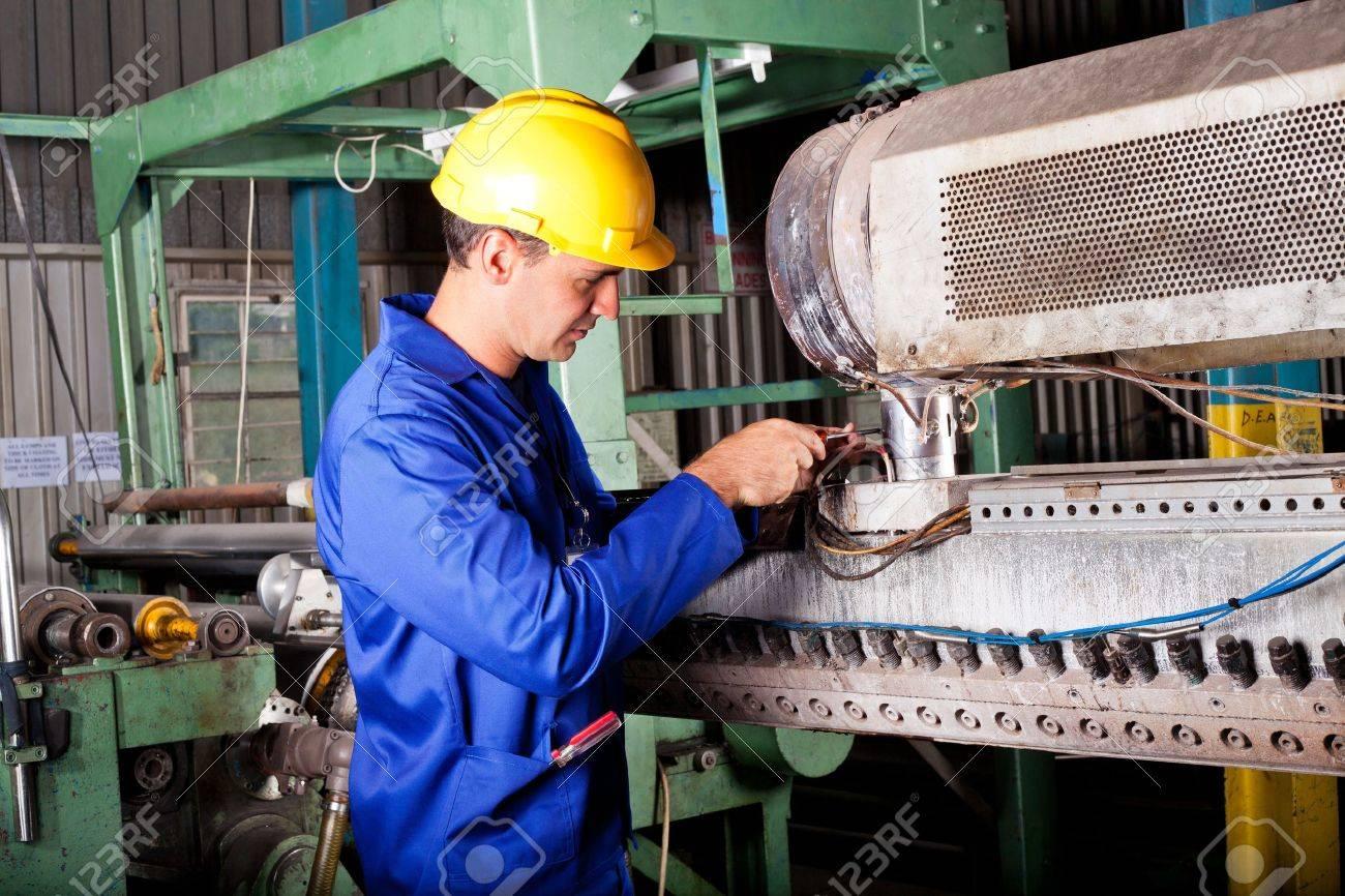 Industrial Mechanic Repairing Heavy Industry Machine In Plant ...