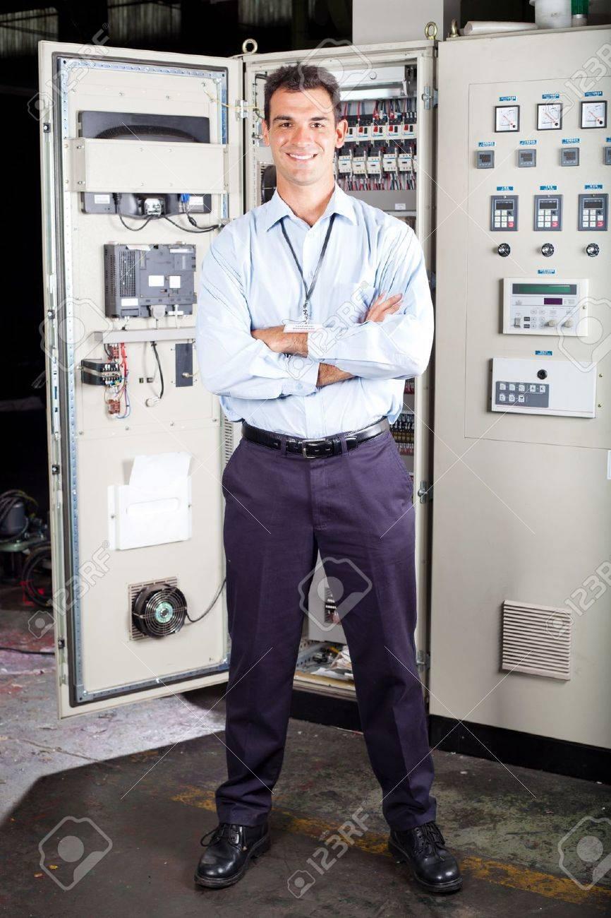 full length portrait of modern factory technical worker Stock Photo - 12431096
