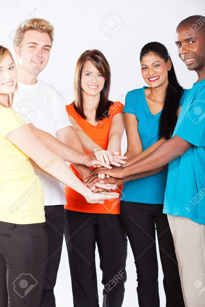 group of young multiracial people hands together Stock Photo - 13058731