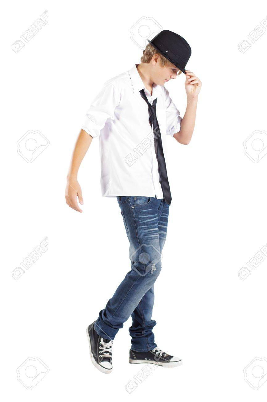 cool teen boy isolated on white background Stock Photo - 13102821