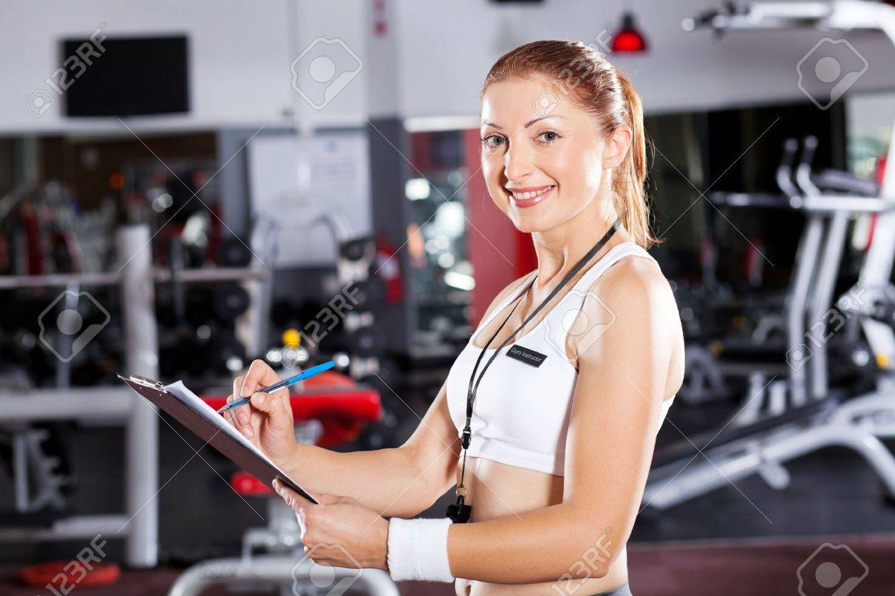 Female Gym Instructor Half Length Portrait Stock Photo, Picture ...