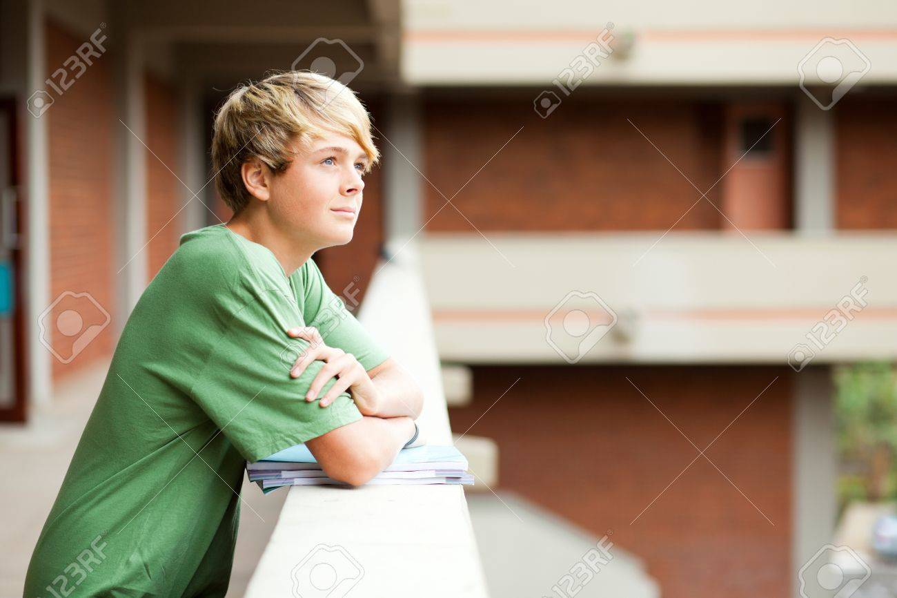 cute high school student looking up Stock Photo - 13737500