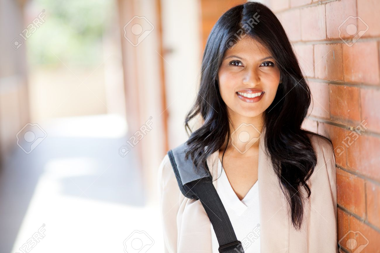 happy modern college girl on campus Stock Photo - 14669124