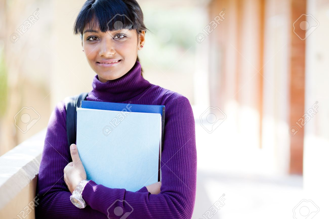 pretty indian college girl portrait on campus stock photo, picture