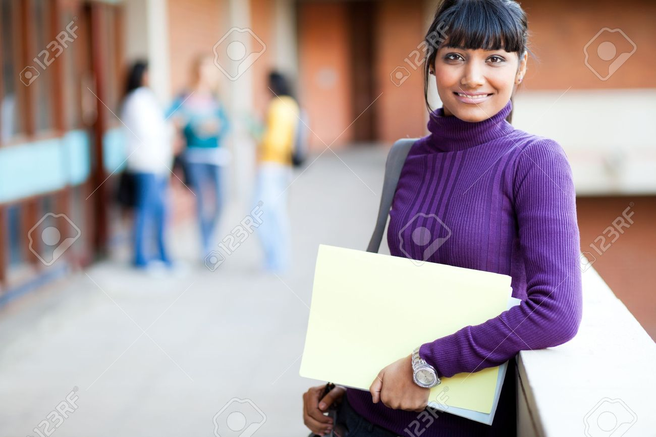 pretty indian college girl portrait stock photo, picture and royalty
