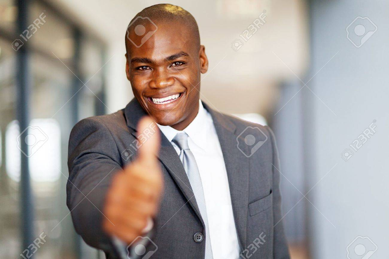 successful african american businessman thumb up Stock Photo - 16013935