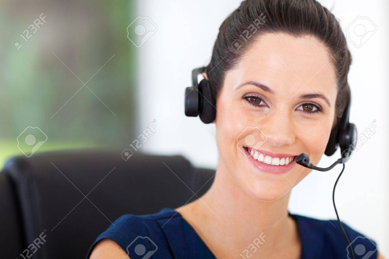Cute Young Business Call Center Operator With Headphones Stock ...