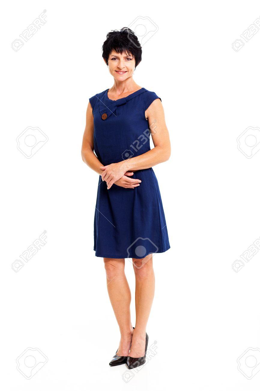 buy popular ef9a8 45fa2 Elegante donna di mezza età in blu lunghezza ritratto vestito completo  isolato su bianco