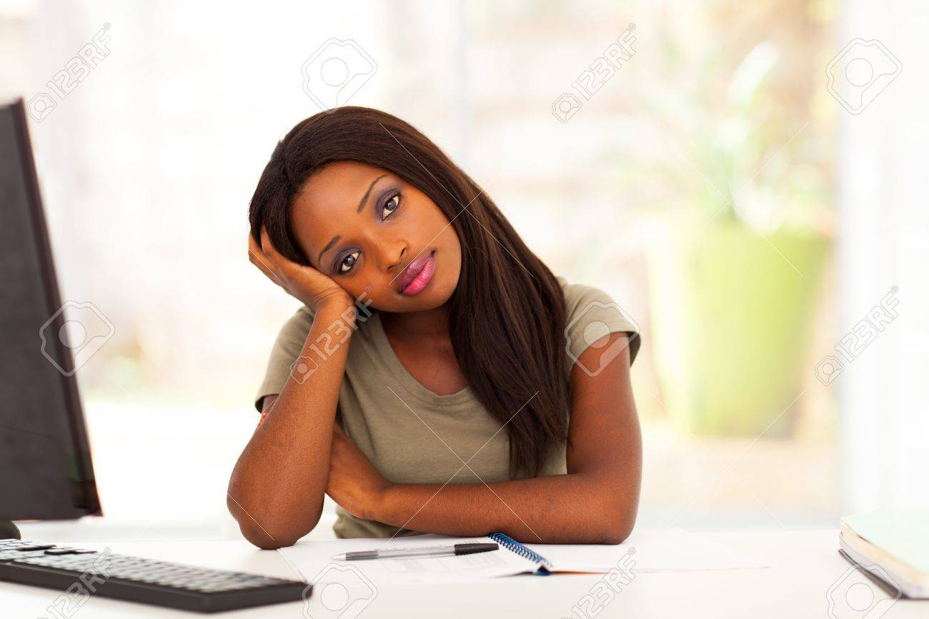 thoughtful female african american college student portrait Stock Photo - 17457276