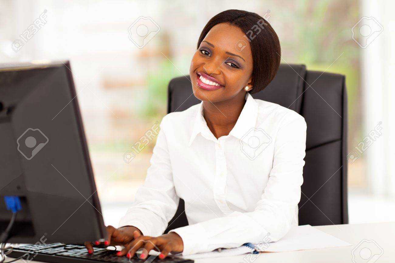 young african american businesswoman working on computer Stock Photo - 17457280