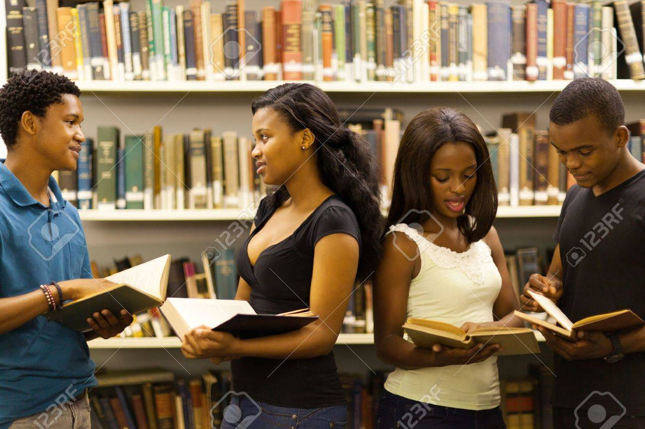 group of african american students in library Stock Photo - 17718458
