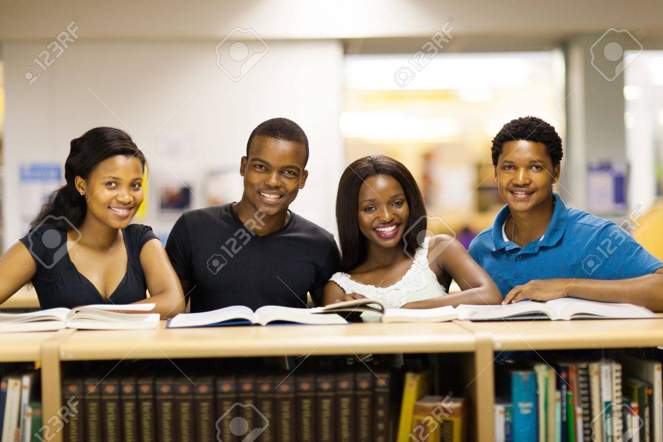 group of african university students in library Stock Photo - 17718270