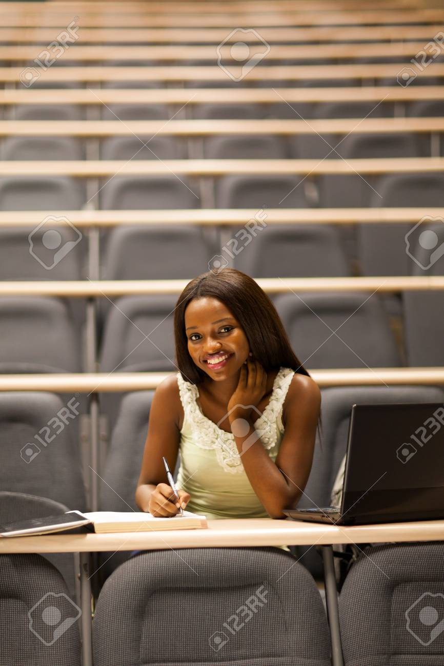 happy female african college student in lecture room Stock Photo - 17718435