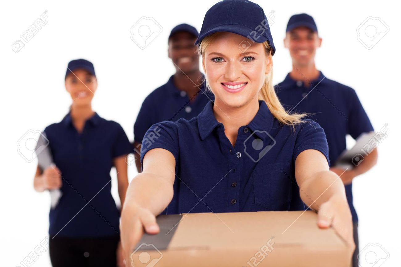 friendly young delivery woman presenting parcel with colleagues Stock Photo - 17781823