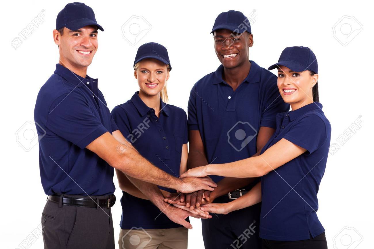service team hands together on white background Stock Photo - 17781871