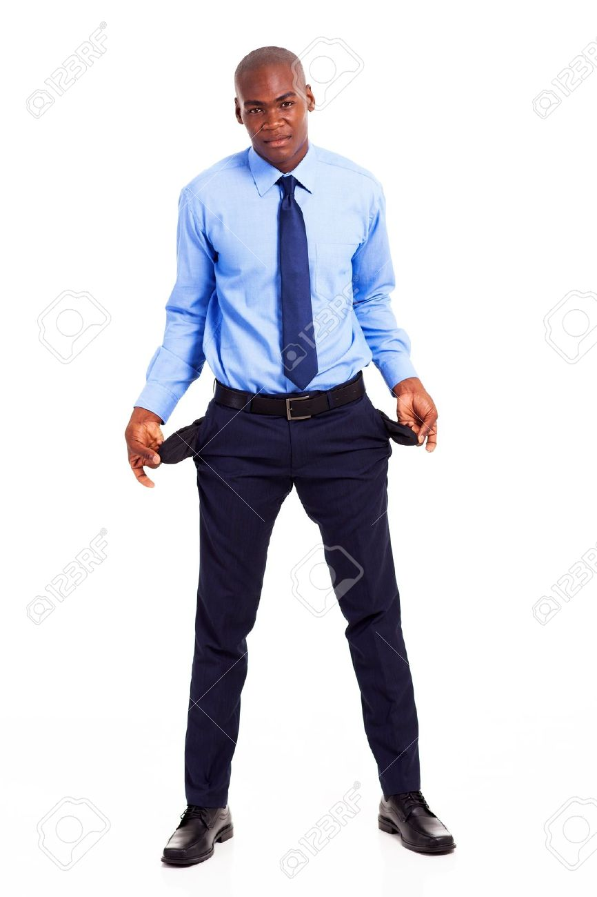 broke african american businessman with empty pockets isolated on white Stock Photo - 18208716