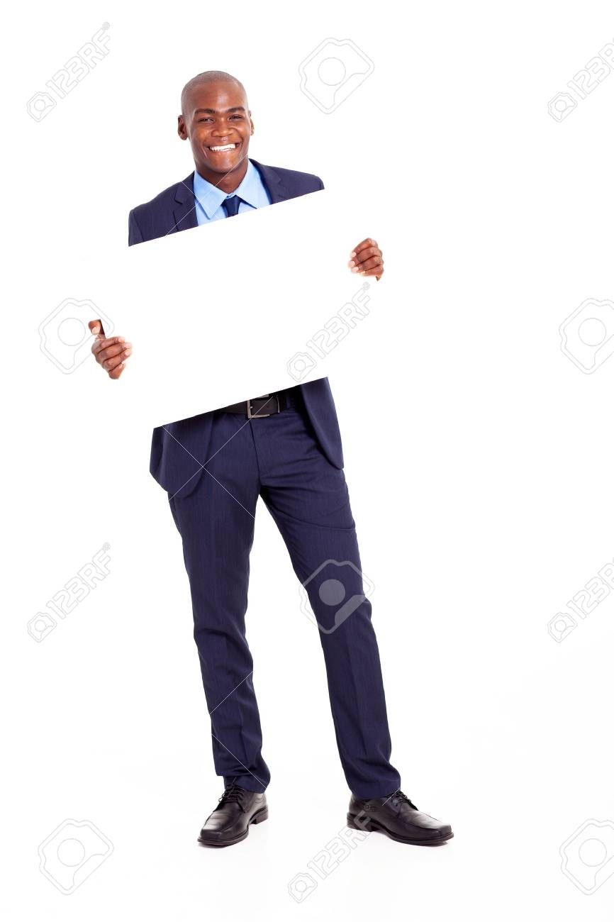 happy african businessman holding banner isolated on white Stock Photo - 18208700