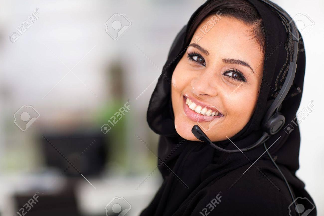 Pretty Arabian Call Center Operator Closeup Portrait Stock Photo ...
