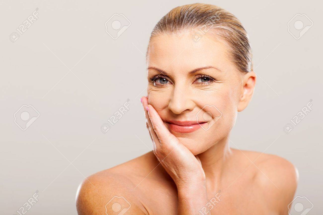 modern senior woman with hand on her face Stock Photo - 18661225