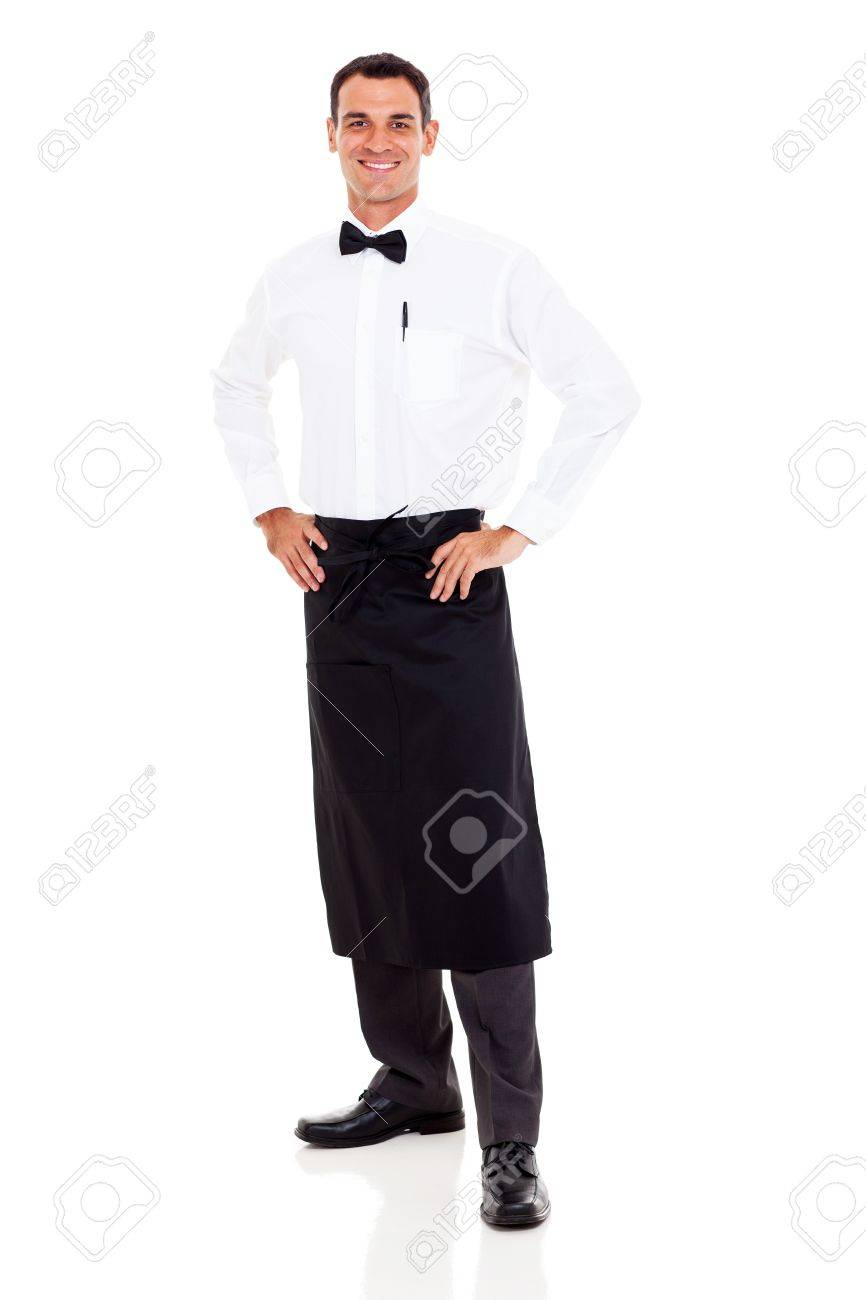 happy restaurant waiter full length portrait on white stock photo