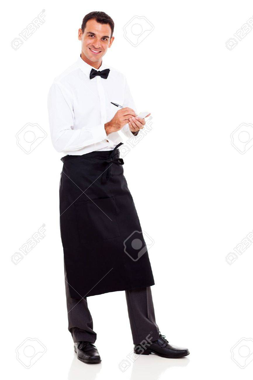 smiling young waiter taking orders stock photo picture and