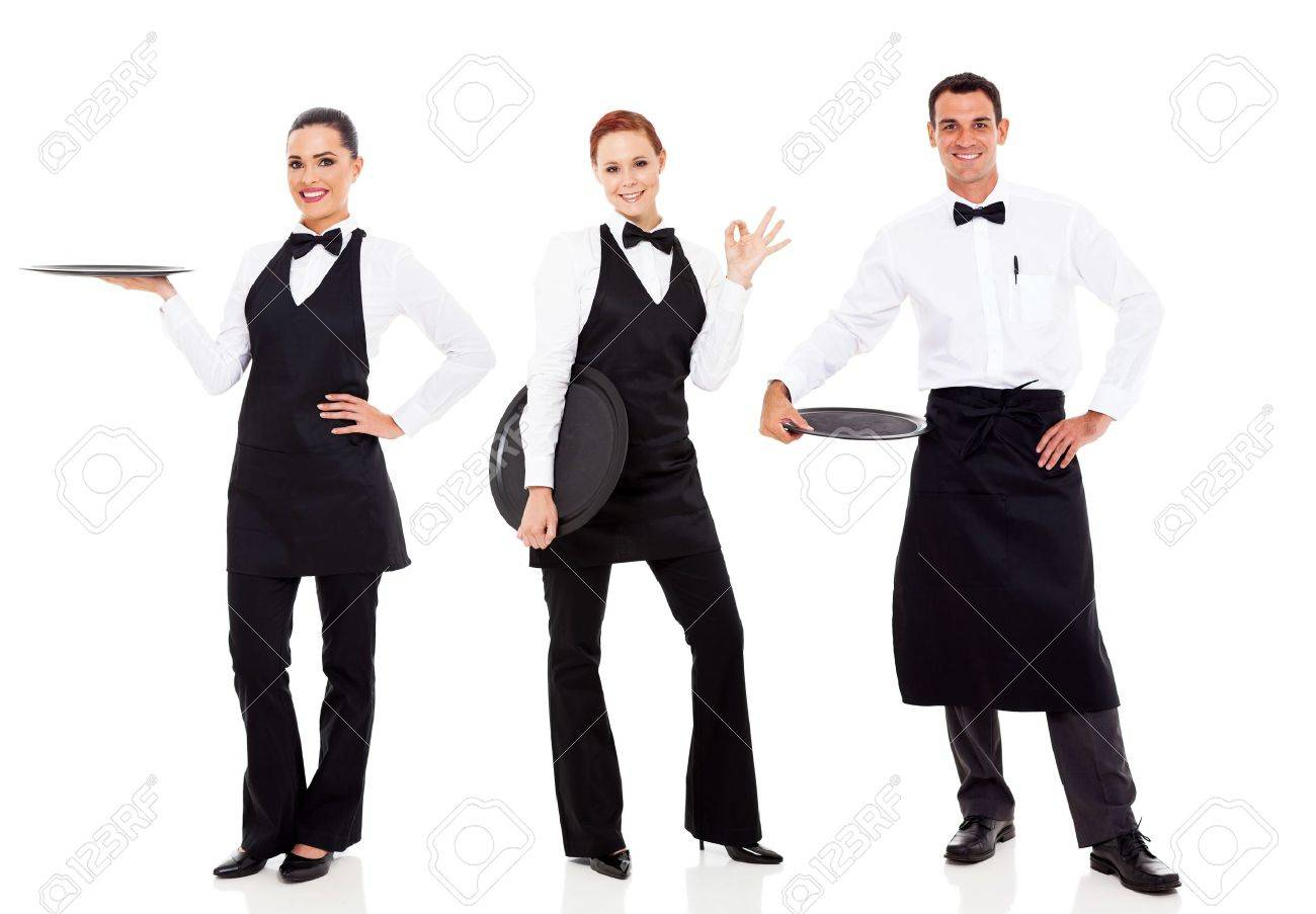 group of friendly restaurant staff isolated on white - 18991117