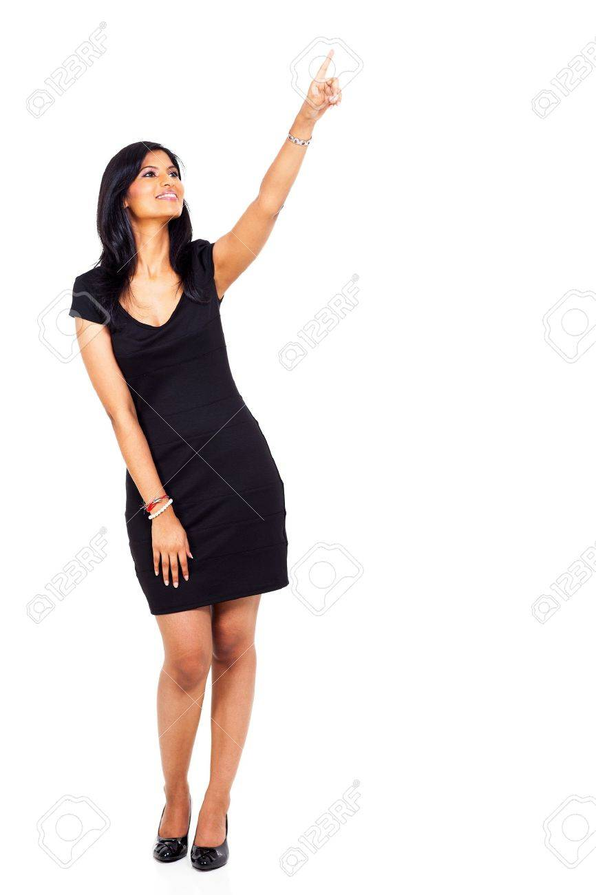 full length of young indian woman pointing up isolated on white background Stock Photo - 19098576