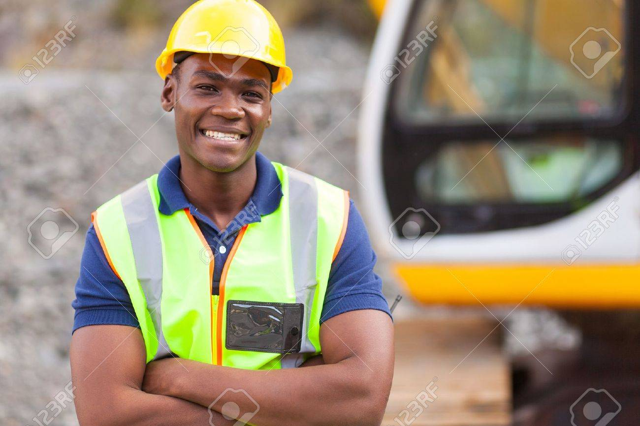 smiling african american industrial worker with arms crossed Stock Photo - 20022595