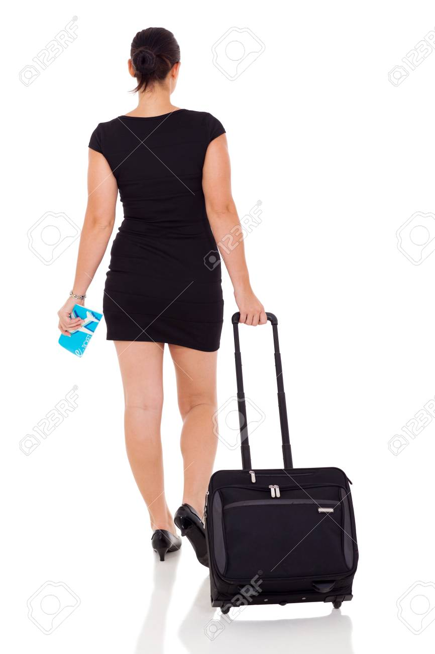 rear view of businesswoman travelling by air isolated on white Stock Photo - 20021930
