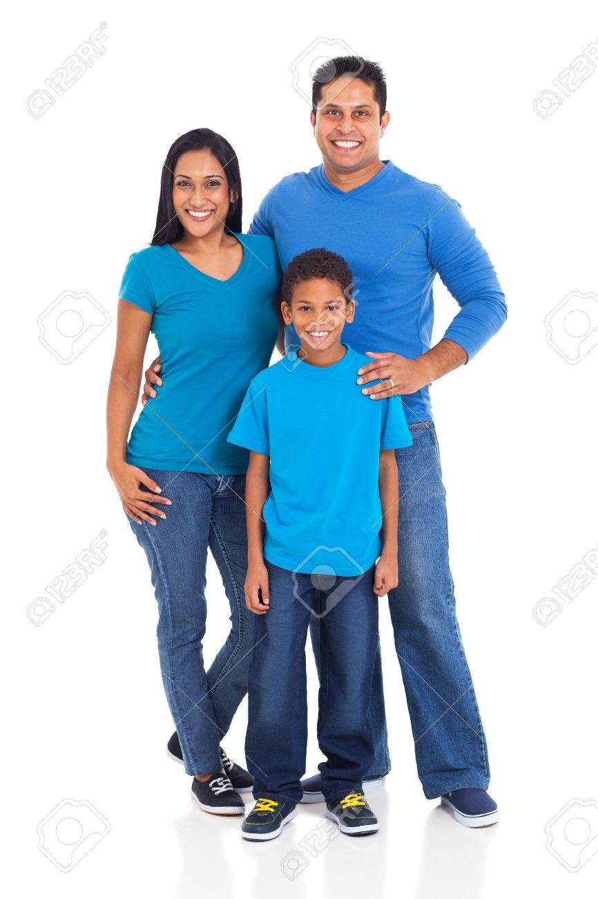 beautiful young indian family isolated on white background Stock Photo - 20357739
