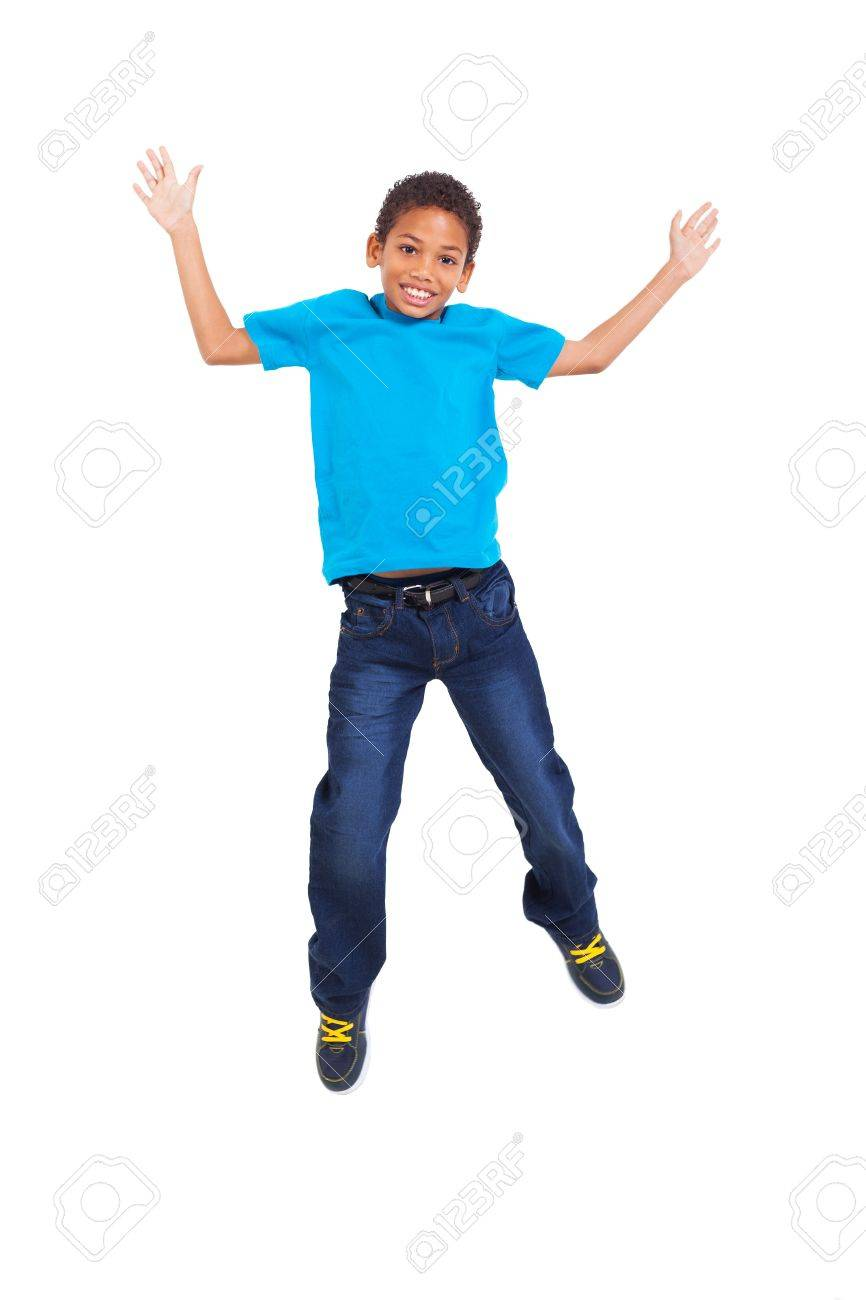 lovely young african american boy jumping on white background Stock Photo - 20357909